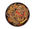 Buckwheat noodles with beef Royalty Free Stock Images