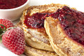 Buckwheat Pancakes with Berry Coulis Stock Image