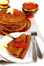 Buckwheat pancakes with red caviar. Stock Photo