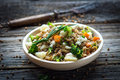 Buckwheat with  vegetables and feta cheese Royalty Free Stock Photo