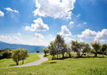 Bucolic country landscape with blue midday sky Royalty Free Stock Photography