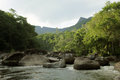 Bucolic river near rio de janeiro and relaxing in the town of cascade the state of brazil a non obvious destination to chill out Royalty Free Stock Photos