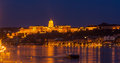 Buda castle in budapest hungary royal palace by the danube river illuminated at night Stock Photography