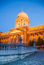 Buda Castle in golden lights at night Budapest Royalty Free Stock Photo