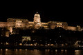 Buda castle hungary seen across the danube at night budapest Royalty Free Stock Image