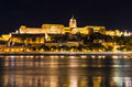 Buda castle night budapest hungary view of from danube river royal palace of was built on the southern hill in ad and Stock Images
