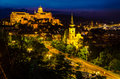Buda castle royal palace from budapest at night saw from gellert hill Stock Image