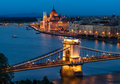 Budapest chain bridge and the hungarian parliament beautiful with in background during blue hour Royalty Free Stock Photography