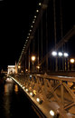 Budapest Chain Bridge Night Stock Image