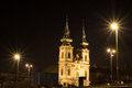 Budapest church towers night view of the in hungary Royalty Free Stock Photos