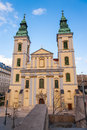 Budapest city parish church front of a in hungary Royalty Free Stock Photo