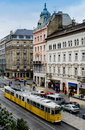 Budapest city tram in central hungary Stock Images