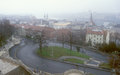 Budapest cityscape view of the on a foggy day Royalty Free Stock Photos