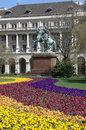 Budapest colorful flowerbed and equestrian statue budapes kossuth square the of the national hero francis ii rakoczi with the Stock Photography