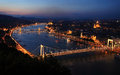 Budapest and danube at night Stock Photos