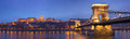 Budapest historic night panorama. Stock Photography