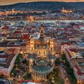 Budapest, Hungary - Aerial drone view of the famous illuminated St.Stephen`s Basilica Szent Istvan Bazilika at blue hour