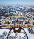 Budapest, Hungary - Aerial skyline view of the famous Szechenyi Thermal Bath in City Park