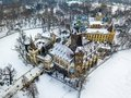 Budapest, Hungary - Aerial view of the beautiful Vajdahunyad Castle and Museum of Hungarian Agriculture