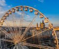 Budapest, Hungary - Aerial view of the ferris wheel at Elisabeth Square Erzsebet ter at sunset with St. Stephen`s Basilica Royalty Free Stock Photo
