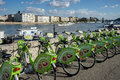 BUDAPEST, HUNGARY/EUROPE - SEPTEMBER 21 : Green bicycles availab Royalty Free Stock Photo