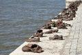 Budapest hungary europe settembre il ferro calza il memoriale a Fotografia Stock Libera da Diritti