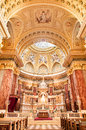 BUDAPEST, HUNGARY - OCTOBER 30, 2015: St. Stephen's Basilica in Budapest. Interior Details. Altar Royalty Free Stock Photo