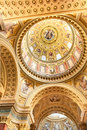 BUDAPEST, HUNGARY - OCTOBER 30, 2015: St. Stephen's Basilica in Budapest. Interior Details. Ceiling elements. Royalty Free Stock Photo