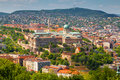 Budapest hungary panorama of capital of with the castle Royalty Free Stock Photos