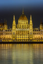 Budapest hungary parliament building at night Royalty Free Stock Image