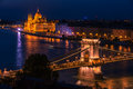 Budapest, Hungary: The Szechenyi Chain Bridge, Hungarian Parliament Building Royalty Free Stock Photo