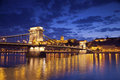 Budapest image of capital city of hungary during twilight blue hour Royalty Free Stock Photos