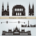 Budapest landmarks and monuments isolated on blue background in editable vector file Stock Photo