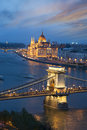 Budapest landmarks at sunset chain bridge and parliament Stock Photography