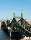 Budapest liberty bridge libert over the danube river hungary Royalty Free Stock Images