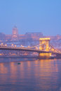 Budapest at night hungary chain bridge and royal palace Royalty Free Stock Photography