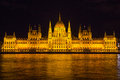 Budapest Parliament Building illuminated during evening, Hungary, Europe Royalty Free Stock Photo