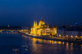Budapest parliament and danube river building night scene seen from above the hungary Stock Photo