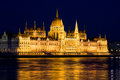 Budapest Parliament at Night Stock Image
