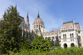 Budapest parliament in trees Royalty Free Stock Images