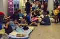 In the budapest s international railway station thousands of migrants waiting for taking trains to other countries of europe Stock Photo
