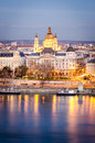 Budapest st stephen s basilica and danube at night Stock Photography