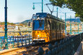 Budapest streetcar a travels along the river danube in hungary Royalty Free Stock Images