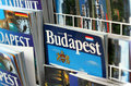 Budapest travel guides displayed for sale in a tourism stand Stock Images