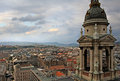 Budapest view at dusks from st stephen s basilica Royalty Free Stock Photos