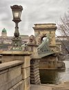Budapests Chain Bridge under polluted gray sky