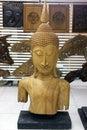 Budda head made of wood teak Stock Photography