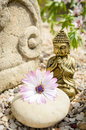 Buddha with altar and flower Stock Photo