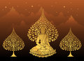 Buddha and Bodhi tree gold color of thai tradition,vesak day Royalty Free Stock Photo