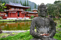 Buddha and Byodo-In Temple- Oahu, Hawaii Stock Photos